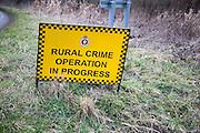 Rural Crime operation in progress sign, Wiltshire, England, UK
