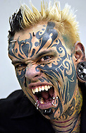 Venezuelan Body Modification artist Emilio Gonzalez at a Tattoo and piercing convention in Mons, Belgium on March 20, 2005.