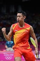 Lin Dan, China, Celebrates victory over Korea's Lee Hyun ii, Mens singles, Olympic Badminton London Wembley 2012