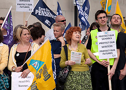 © London News Pictures. 30/06/11. A small gathering of demonstrators gather outside the County Hall in Maidstone, Kent. Teachers from the local secondary schools join with public service workers to protest on fair pensions ahead of public service cuts. Picture credit should read Manu Palomeque/London News Pictures