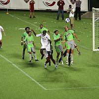 Players head the ball during a United Soccer League Pro soccer match between Puerto Rico United and the Orlando City Lions at the Florida Citrus Bowl on April 22, 2011 in Orlando, Florida.  (AP Photo/Alex Menendez)