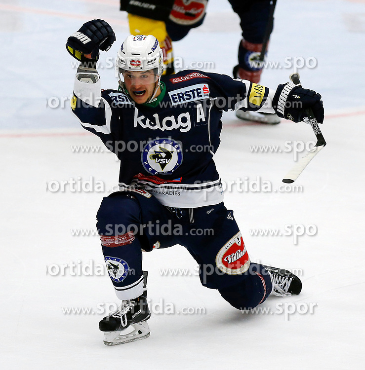 17.11.2015, Stadthalle, Villach, AUT, EBEL, EC VSV vs UPC Vienna Capitals, 21. Runde, im Bild der Jubel von Stefan Bacher (VSV) zum 1:0 // during the Erste Bank Icehockey League 21th round match between EC VSV vs UPC Vienna Capitals at the City Hall in Villach, Austria on 2015/11/17, EXPA Pictures © 2015, PhotoCredit: EXPA/ Oskar Hoeher