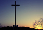 The sun sets at the Papal Cross in the Phoenix park in Dublin on Saturday evening Pic:Marc O'Sullivan
