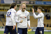 Preston North End defender Tom Clarke celebrates win during the Sky Bet Championship match between Wolverhampton Wanderers and Preston North End at Molineux, Wolverhampton, England on 13 February 2016. Photo by Alan Franklin.