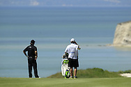 Thomas Aiken (RSA) prepares to play his 2nd shot on the 15th hole during Saturday Morning's Last 16 Group of the 2013 Volvo World Matchplay Championship held  at the Thracian Cliffs Golf & Beach Resort, Kavarna, Bulgaria, 18th May 2013..Picture: Eoin Clarke www.golffile.ie.