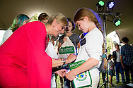 GENNEP - 20-9-2014 - Prinses Laurentien of the Netherlands during the Kids Climate Confrence in a corporation with The Missing Chapter Foundation. COPYRIGHT ROBIN UTRECHT