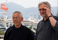 Producer, Toshio Suzuki and Director Michael Dudok De Wit at the The Red Turtle film photo call at the 69th Cannes Film Festival Wednesday 18th May 2016, Cannes, France. Photography: Doreen Kennedy