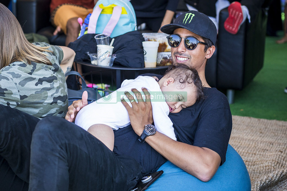 October 12, 2017 - Miguel Pupo (BRA) with his baby  before his heat of Round Two at Quiksilver Pro France 2017, Hossegor, France..Quiksilver Pro France 2017, Landes, France - 12 Oct 2017 (Credit Image: © WSL via ZUMA Press)