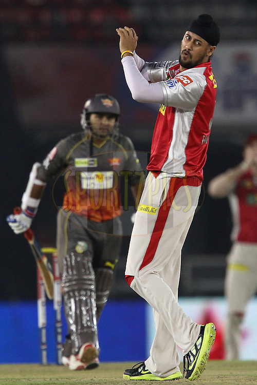 Harmeet Singh reacts after bowling and a chance for a caught and bowled during match 59 of of the Pepsi Indian Premier League between The Kings XI Punjab and the Sunrisers Hyderabad held at the PCA Stadium, Mohal, India  on the 11th May 2013..Photo by Ron Gaunt-IPL-SPORTZPICS ..Use of this image is subject to the terms and conditions as outlined by the BCCI. These terms can be found by following this link:..http://www.sportzpics.co.za/image/I0000SoRagM2cIEc