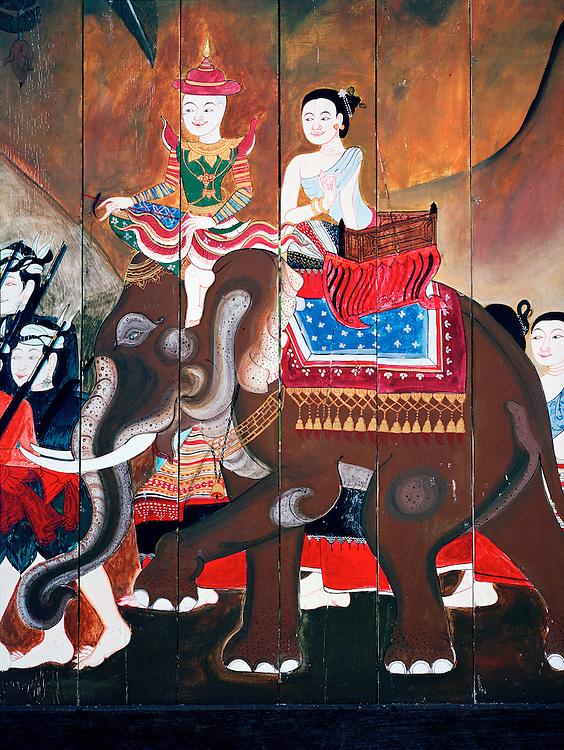 Wall mural at the Anantara Golden Triangle resort