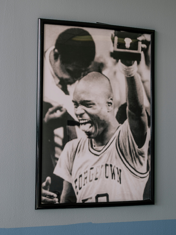 Old photos from Michael Graham's playing days hang on the wall of his two restaurants, Michael G's Breakfast and BBQ in Maryland.