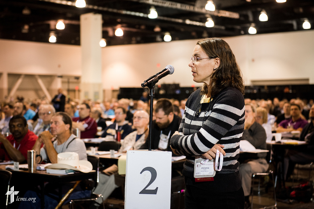 Christina Hunt, a voting delegate from Pacific Southwest District, speaks Tuesday, July 12, 2016, at the 66th Regular Convention of The Lutheran Church–Missouri Synod, in Milwaukee. LCMS/Frank Kohn