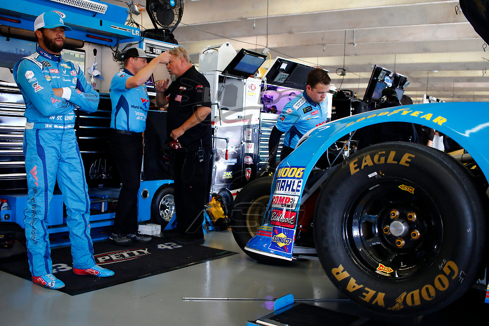 November 02, 2018 - Ft. Worth, Texas, USA: Darrell Wallace, Jr (43) hangs out in the garage during practice for the AAA Texas 500 at Texas Motor Speedway in Ft. Worth, Texas.