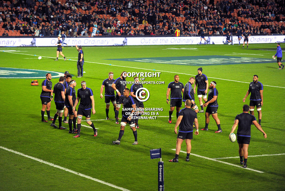 The All Blacks warm up for The Rugby Championship match between the NZ All Blacks and Argentina Pumas at FMG Stadium in Hamilton, New Zealand on Saturday, 10 September 2016. Photo: Dave Lintott / lintottphoto.co.nz