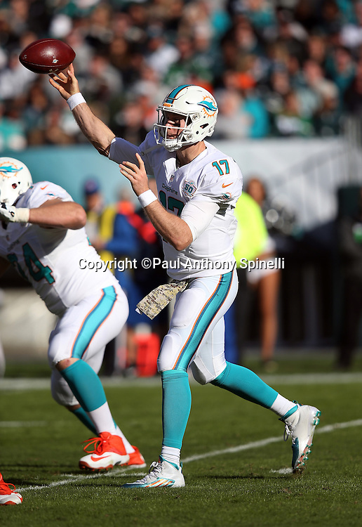 Miami Dolphins quarterback Ryan Tannehill (17) throws a second quarter pass for a gain of 4 yards during the 2015 week 10 regular season NFL football game against the Philadelphia Eagles on Sunday, Nov. 15, 2015 in Philadelphia. The Dolphins won the game 20-19. (©Paul Anthony Spinelli)
