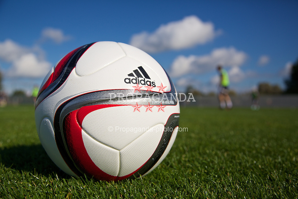 NEWPORT, WALES - Tuesday, October 7, 2014: An official Adidas football during training at Dragon Park National Football Development Centre ahead of the UEFA Euro 2016 qualifying match against Bosnia and Herzegovina. (Pic by David Rawcliffe/Propaganda)