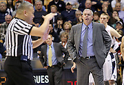 BYU head coach Dave Rose, right, is charged with a technical foul during the second half of an NCAA college basketball game against St. Mary's in Provo, Utah, Saturday, Jan. 28, 2012. (AP Photo/Colin E Braley)