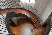 Renovated staircase connecting ground floor to the Salle des Pelerins at the first floor, 2012 by Jacques Metailie, Basilique Notre-Dame-des-Victoires (Basilica Notre-Dame-des-Victoires), founded in 1629 by King Louis XIII and finalized in 1737 by Sylvain Cartaud, 2nd arrondissement, Paris, France. Picture by Manuel Cohen