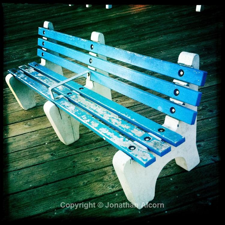 Blue bench at Malibu Pier