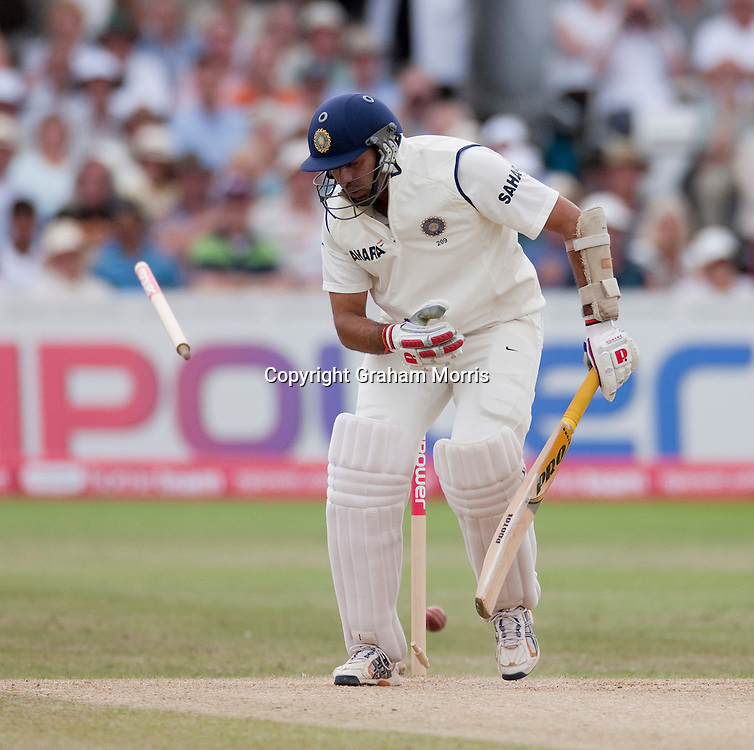 VVS Laxman is bowled by James Anderson during the second npower Test Match between England and India at Trent Bridge, Nottingham.  Photo: Graham Morris (Tel: +44(0)20 8969 4192 Email: sales@cricketpix.com) 01/08/11