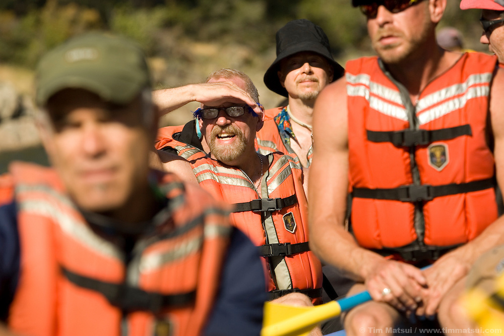 SATURDAY JULY 8, 2006 - LOTUS, CA  Rafter Will Boemer with other rafters at the Healing Waters weekend retreat, a non profit whose mission is to empower, inspire and enrich the lives of people challenging HIV/AIDS through wilderness adventures, on Saturday, July 8, 2006 on the South Fork of the American River in Calif.