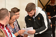 Newcastle United defender Grant Hanley (5) signing autographs during the EFL Sky Bet Championship match between Aston Villa and Newcastle United at Villa Park, Birmingham, England on 24 September 2016. Photo by Alan Franklin.