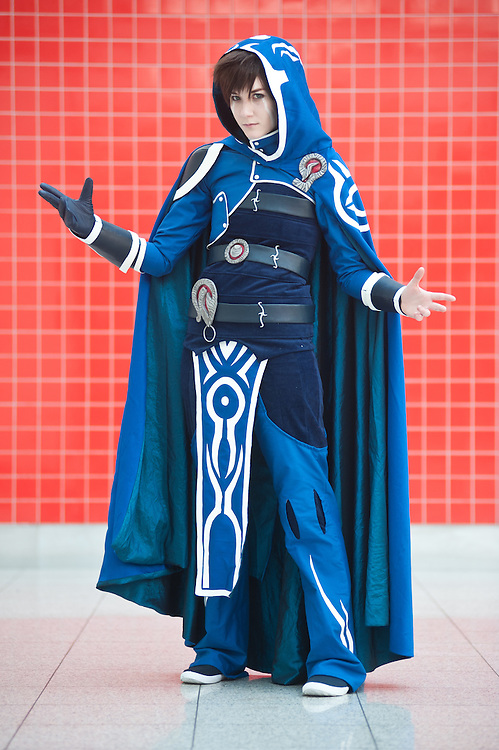 London, UK - 26 May 2013: Ria Bedford dressed as Jace Beleren of Magic the Gathering poses for a picture during the London Comic Con 2013 at Excel London. London Comic Con is the UK's largest event dedicated to pop culture attracting thousands of artists, celebrities and fans of comic books, animes and movie memorabilia.