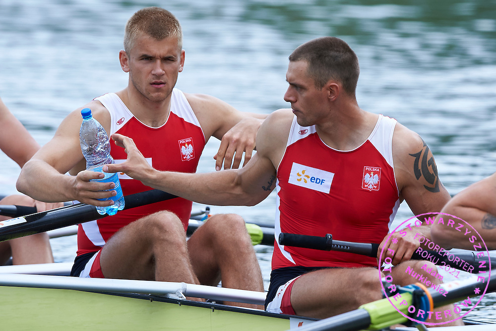 (R) Marcin Brzezinski and (L) Michal Szpakowski before competition at Men&rsquo;s Eight (M8+) during first day the 2015 European Rowing Championships on Malta Lake on May 29, 2015 in Poznan, Poland<br /> Poland, Poznan, May 29, 2015<br /> <br /> Picture also available in RAW (NEF) or TIFF format on special request.<br /> <br /> For editorial use only. Any commercial or promotional use requires permission.<br /> <br /> Mandatory credit:<br /> Photo by &copy; Adam Nurkiewicz / Mediasport