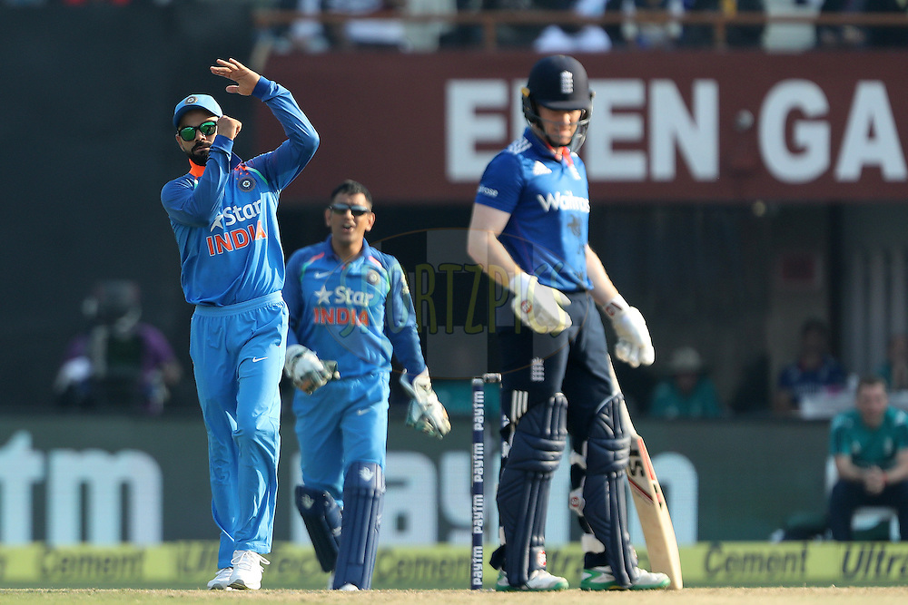 Virat Kohli Captain of India  calls for DRS during the third One Day International (ODI) between India and England  held at Eden Gardens in Kolkata on the 22nd January 2017<br /> <br /> Photo by: Ron Gaunt/ BCCI/ SPORTZPICS