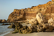 Eroded coastal cliff. Photographed on the Mediterranean coast, Israel