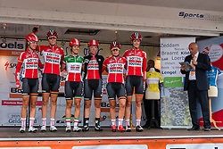 Riders of Lotto Soudal Ladies with Elena Cecchini on the podium for the sign-on at the Holland Ladies Tour, Zeddam, Gelderland, The Netherlands, 1 September 2015.<br /> Photo: Pim Nijland / PelotonPhotos.com