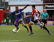 Charlton Athletic midfielder, Callum Harriott (11) dribbling during the Sky Bet Championship match between Brentford and Charlton Athletic at Griffin Park, London, England on 5 March 2016. Photo by Matthew Redman.