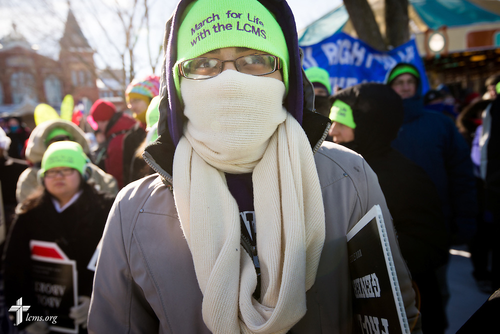 Alexia Jones, a student of Concordia University Wisconsin, bundles for the bitter cold before the start of the 41st March for Life on Wednesday, Jan. 22, 2014, in Washington, D.C. LCMS Communications/Erik M. Lunsford