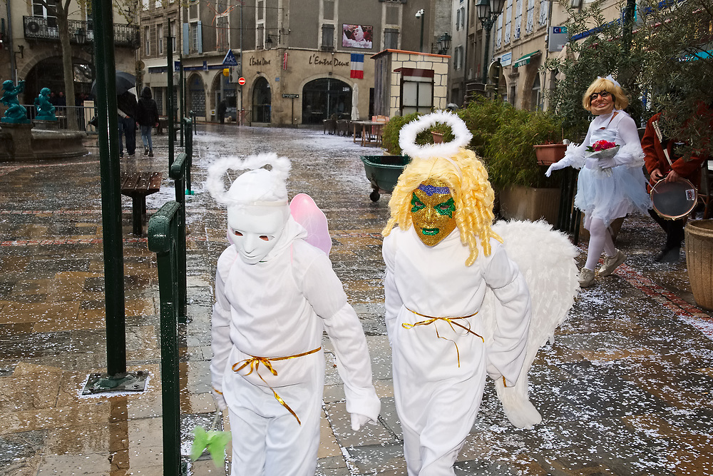 """France, Limoux, 2 April 2017. Carnaval de Limoux, morning outing of """"Monte Cristo"""" as Goudil."""