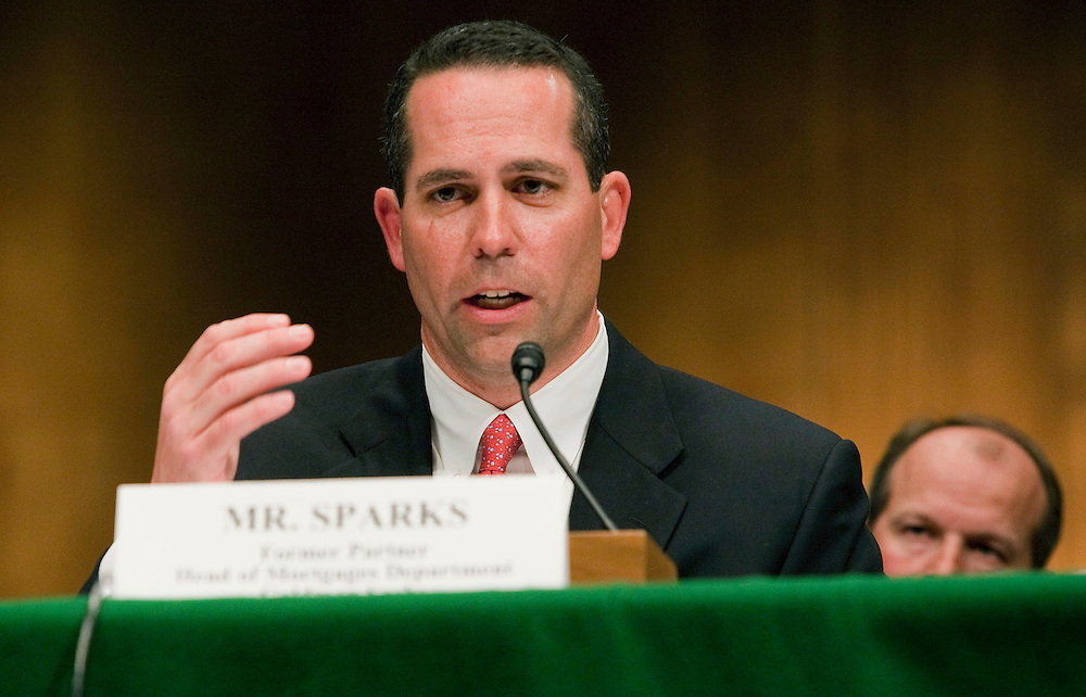 Daniel Sparks, former partner and head of mortgages with Goldman Sachs Group Inc., testifies to a Senate Homeland Security and Governmental Affairs subcommittee hearing on Wall Street and the financial crisis in Washington, D.C., U.S., on Tuesday, April 27, 2010. Goldman Sachs, Wall Street's most profitable firm, will face off against a U.S. Senate subcommittee today in a pivotal hearing that could have repercussions for the future of the financial industry. Photographer: Joshua Roberts/Bloomberg *** Local Caption *** Fabrice Tourre; Daniel Sparks; Michael Swenson,; Joshua Birnbaum