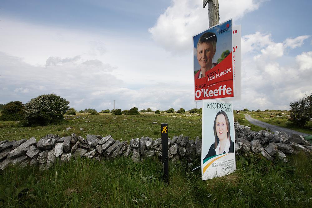 Ireland Burren region landscape after the election, June 2009
