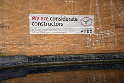 Considerate constructors on building station near Paddington Station, London August 2018 UK