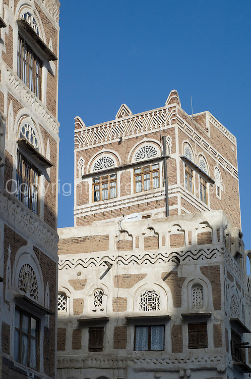 Architecture within the walls of the Old City of San'a', (Sanaa).  The fortified city has many architectural gems and was declared a UNESCO World Heritage Site in 1984. San?a? , in the Yemeni highlands on a plateau at an altitude of 2200m  is surrounded by mountains.