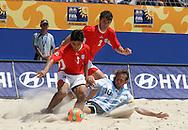 Footbal-FIFA Beach Soccer World Cup 2006 -  Quarter Final-ARG xURU -Hilaire E., Ricar and Seba -Rio de Janeiro- Brazil - 09/11/2006.<br />Mandatory Credit: FIFA/Ricardo Ayres