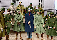 Irish National Army soldiers taking over at the Curragh camp after the British withdrawal, 1922. General J.J. &lsquo;Ginger&rsquo; O&rsquo;Connell, Deputy Chief of Staff is third from the left. This image has been digitally edited to add colour to its original black and white format. <br />