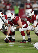 Arizona Cardinals rookie center Evan Boehm (70) gets set to snap the ball during the 2016 NFL preseason football game against the Oakland Raiders on Friday, Aug. 12, 2016 in Glendale, Ariz. The Raiders won the game 31-10. (©Paul Anthony Spinelli)