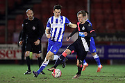 U21 Newcastle United's Sean Longstaff and U21 Brighton and Hove Albion's Jack Harper during the Barclays U21 Premier League match between U21 Brighton and Hove Albion and U21 Newcastle United at the Checkatrade.com Stadium, Crawley, England on 23 March 2016.