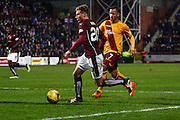 Hearts FC Forward Gavin Reilly attacks the box during the Ladbrokes Scottish Premiership match between Heart of Midlothian and Motherwell at Tynecastle Stadium, Gorgie, Scotland on 16 January 2016. Photo by Craig McAllister.