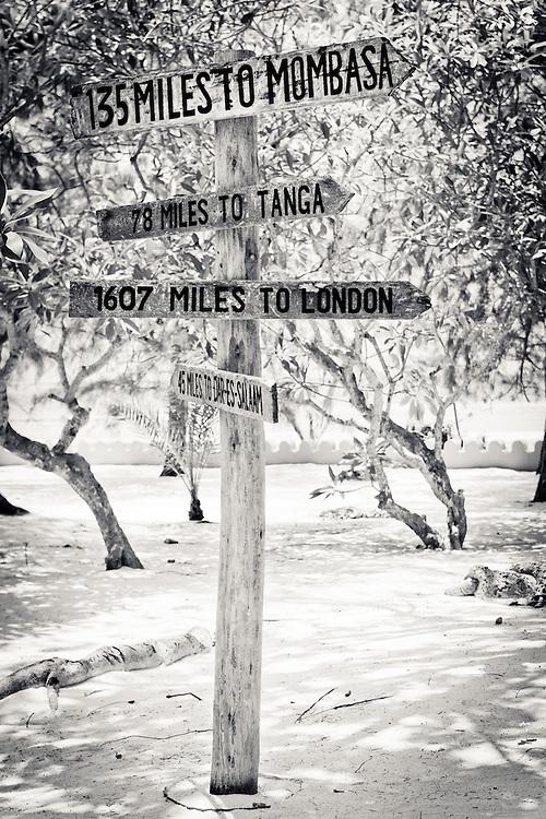 Milage sign on Prisoner Island- Near Zanzibar, Tanzania.