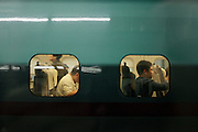Japan Tokyo people waiting in a shinkansen bullet train wagon