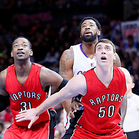 27 December 2014: Los Angeles Clippers center DeAndre Jordan (6) vies for the rebound with Toronto Raptors forward Tyler Hansbrough (50) and Toronto Raptors forward Terrence Ross (31) during the Toronto Raptors 110-98 victory over the Los Angeles Clippers, at the Staples Center, Los Angeles, California, USA.