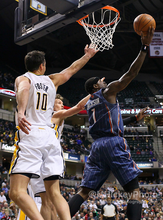 Feb. 09, 2011; Indianapolis, IN, USA; Charlotte Bobcats shooting guard Stephen Jackson (1) puts up a reverse layup against the Indiana Pacers at Conseco Fieldhouse. Indiana defeated Charlotte 104-103. Mandatory credit: Michael Hickey-US PRESSWIRE