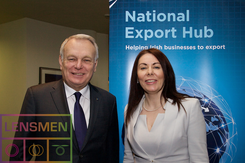 """The French Minister of Foreign Affairs briefs Irish SMEs on export opportunities<br /> <br />Pictured left to right<br />The French Minister of Foreign Affairs and International Development Jean-Marc Ayrault addresses SMEs at Irish Exporters Association National Export Hub seminar and Nicola Byrne, President, Irish Exporters Association.<br /><br />Dublin, 22nd February 2017: The Irish Exporters Association's National Export Hub this morning held the first National Export Hub Seminar of 2017 at the Clarion Hotel, Liffey Valley, Dublin. The event, run by the National Export Hub, an initiative of the Irish Exporters Association and sponsors ABP Ireland, AIB, DHL Express, Euler Hermes and PwC in conjunction with Bord Bia and the Department of Foreign Affairs and Trade aims to educate and inform Irish SME's around the practicalities of exporting, assistance available and solutions they ought to consider to help them to grow their exports and in some cases, export for the first time. This morning's seminar focused particularly on the French market, existing collaboration between Ireland and France and the potential opportunities of trade and investment with France, particularly in light of the UK's decision to exit the EU. The event was headlined with a keynote address from Jean-Marc Ayrault, Minister of Foreign Affairs and International Development in France who highlighted French opportunities for Irish SME's and discussed the Irish-French bi-lateral trade relationship, Brexit and the future of Europe.<br /> <br />Event speakers:<br />•Jean-Marc Ayrault, Minister of Foreign Affairs and International Development, France<br />•Ray Lynch, Head of AIB Dublin<br />•Luke Redmond, Advisory Consultant, PwC<br />•Orlaith Sweeney, Export Manager, Keogh's Crisps<br />•Simon McKeever, Chief Executive, Irish Exporters Association<br />Jean-Marc Ayrault, Minister of Foreign Affairs and International Development, France speaking at the event said: """"France and Ireland have enjoyed lon"""