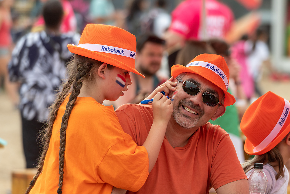 Dutch Fans at the Vitality Hockey Women's World Cup, Lee Valley Hockey and Tennis Centre, London, UK on 22 July 2018. Photo: Simon Parker