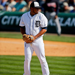 Feb 27, 2013; Lakeland, FL, USA; Detroit Tigers relief pitcher Joaquin Benoit (53) against the Atlanta Braves during the a spring training game at Joker Marchant Stadium. Mandatory Credit: Derick E. Hingle-USA TODAY Sports